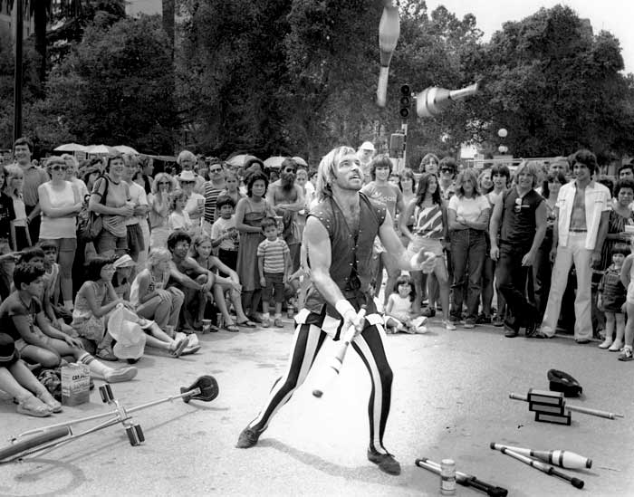 Performing in a street show in San Jose in 1982
